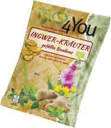 Bio 4You Bio-Bonbon-Ingwer-Kräuter, gefüllt 75g