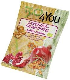 Bio 4You Bio-Bonbon-Sanddorn-Granatapfel, gefüllt 75g