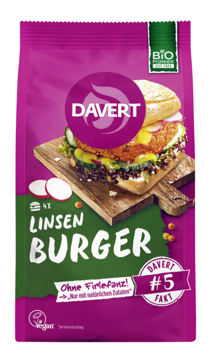 Davert Linsen-Curry Burger 160g