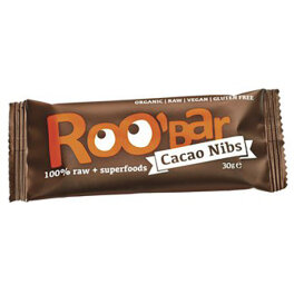 Roobar Cacao Nibs Rohkost-Riegel mit Superfoods 30g