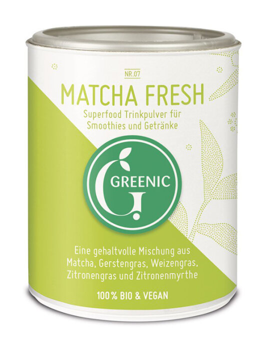 Greenic Matcha Fresh Superfood Trinkpulver Mischung 80g Bio