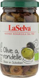 LaSelva Oliven a rondelle - grüne und dunkle Oliven...