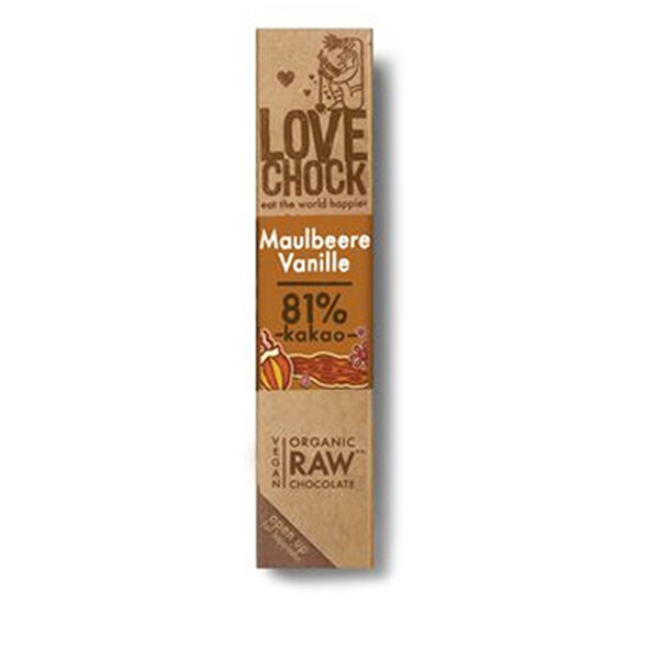 Lovechock Raw Chocolate Maulbeere & Vanille 40g
