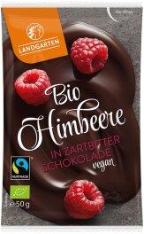 Landgarten Himbeere in Zartbitter-Schokolade 50g