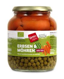 greenorganics Erbsen mit Möhren im Glas 680g