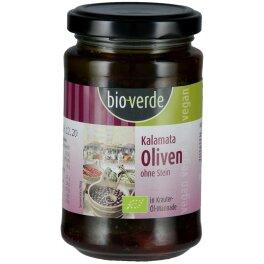 Bio-Verde Bio Schwarze Kalamata Oliven ohne Stein 200g
