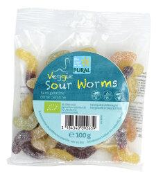 Pural Veggie Sour Worms Fruchtgummi 100g
