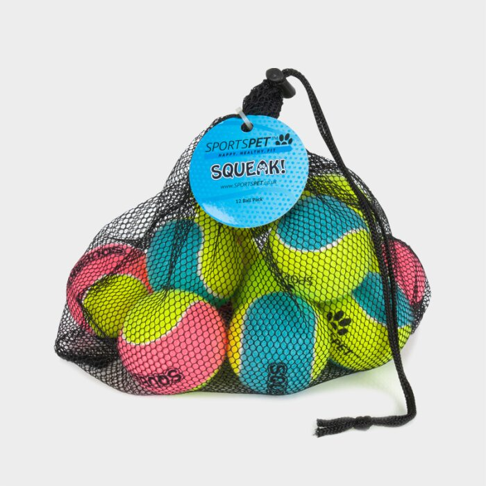 SPORTSPET Tennisbälle Colour - Medium Netz, 65 mm Ø mit Quietscher - 12er Pack