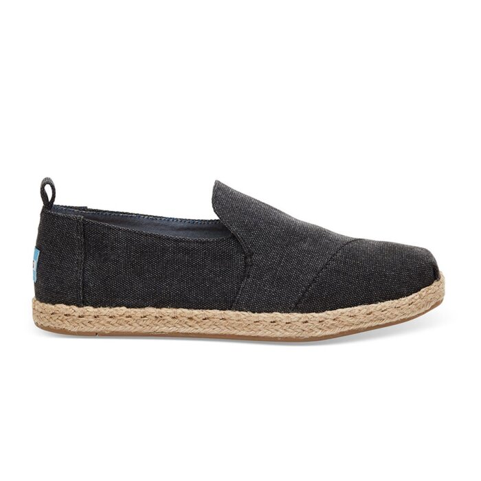 Toms Espadrilles Black Washed Canvas Deconstructed Classics